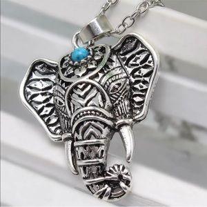 5/$25 🐘 boho Tribal Silver Elephant Necklace